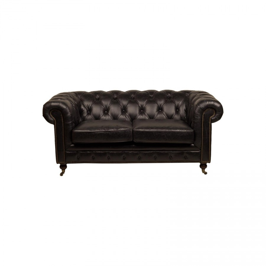 le canap chesterfield black 2 places en cuir noir. Black Bedroom Furniture Sets. Home Design Ideas