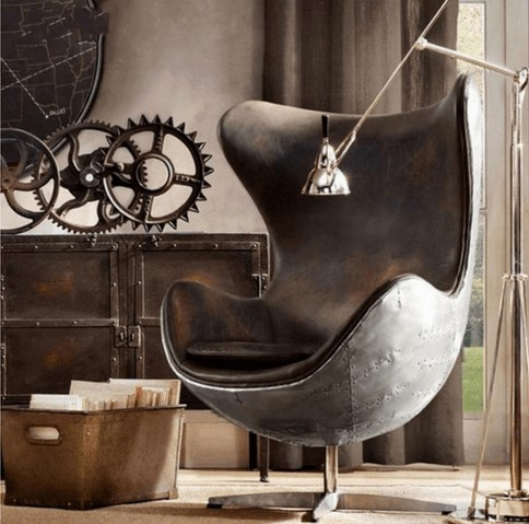 fauteuil egg chair cocoon aviateur marron vieilli et aluminium rivet. Black Bedroom Furniture Sets. Home Design Ideas